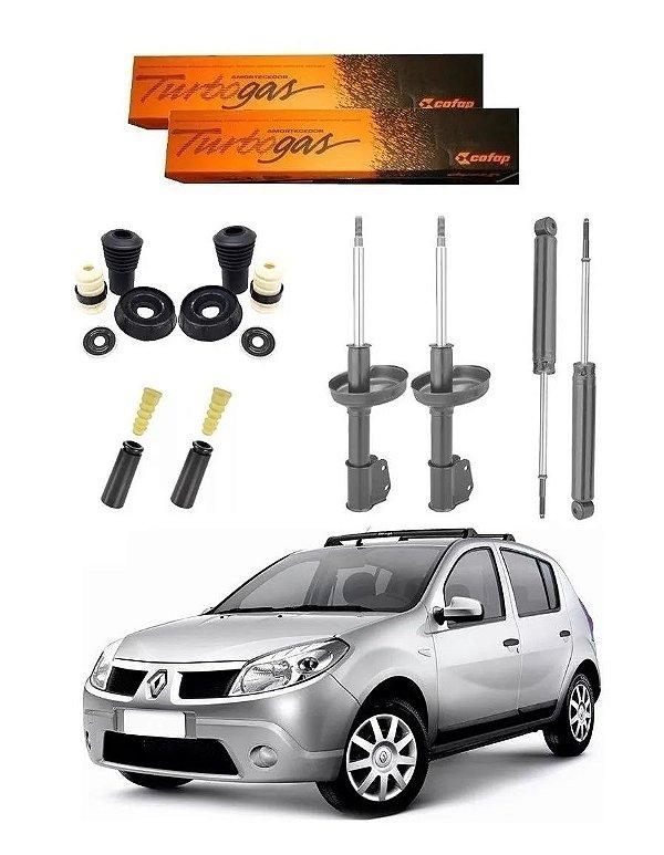 4 Amortecedor COFAP Turbo Gás + Kit Amortecedor Renault SANDERO 2007 a 2013 *EXCETO STEPWAY*