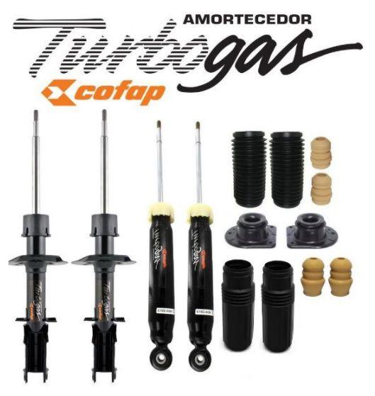 KIT 4 AMORTECEDOR COFAP TURBO GAS FIAT SIENA 1.0 / 1.4 / 1.8 1997 A 2012 + KIT DIANTEIRO ORIGINAL AXIOS