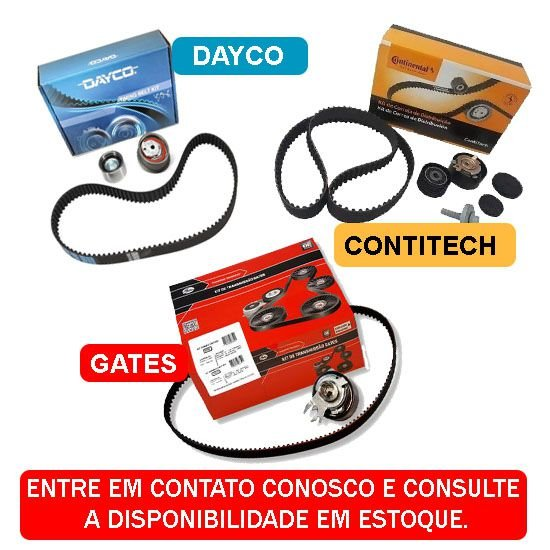 KIT CORREIA DENTADA E TENSIONADOR VW GOL 1.0 1.6 8V 2002 a 2014