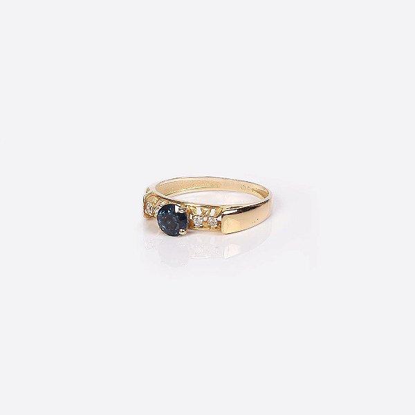 Anel de Formatura com Pedra Azul Natural e Brilhantes - Ouro 18K