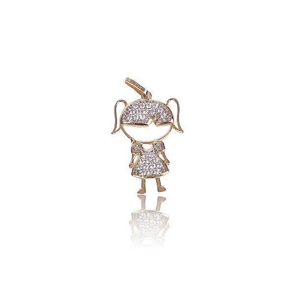 Pingente Boneca com Ouro Branco e Zircônias  - Ouro 18K