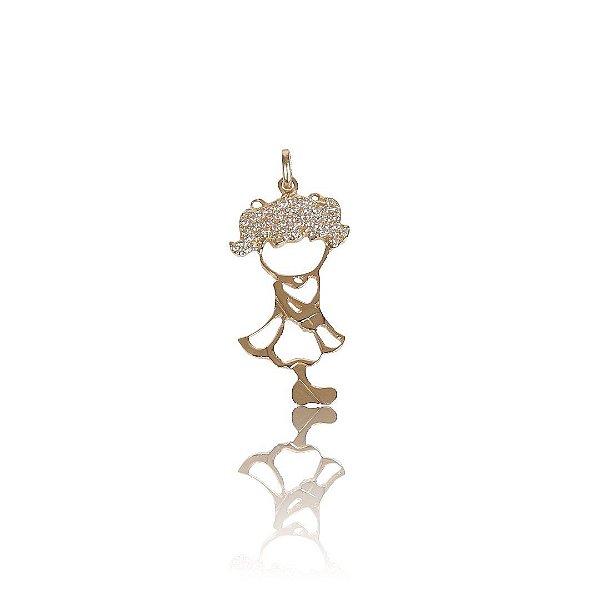 Pingente Boneca Vestido Vazado com Zircônias - Ouro 18K