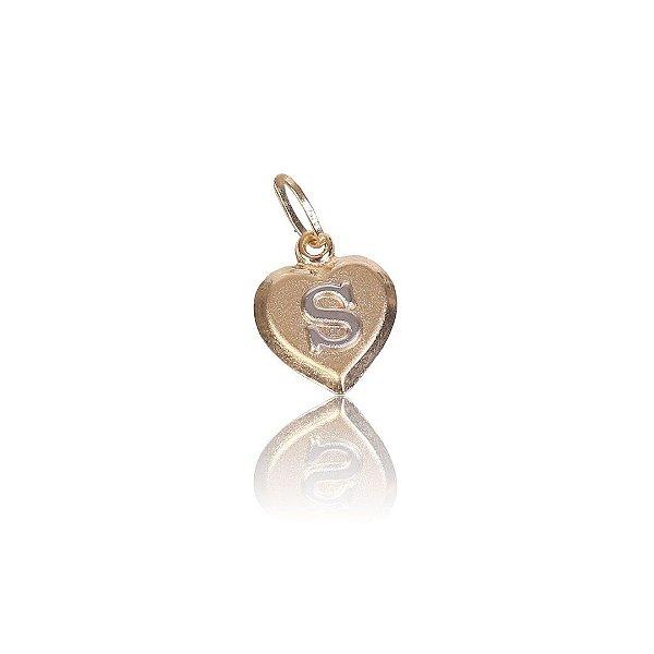 Pingente Coração com Letra em Ouro Branco - Ouro 18K