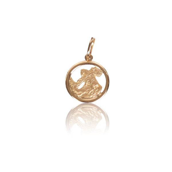 Pingente Medalha com Detalhe Fosco - Ouro 18K