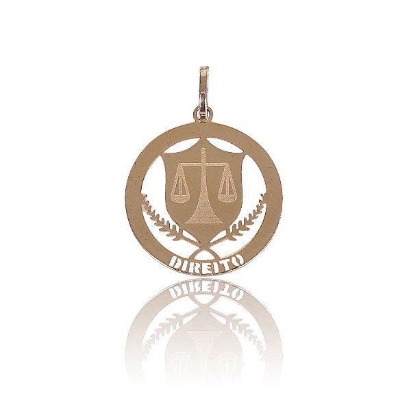 Pingente Medalha Formatura de Direito - Ouro 18K