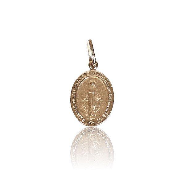 Pingente Medalha Maria com Detalhe Fosco - Ouro 18K