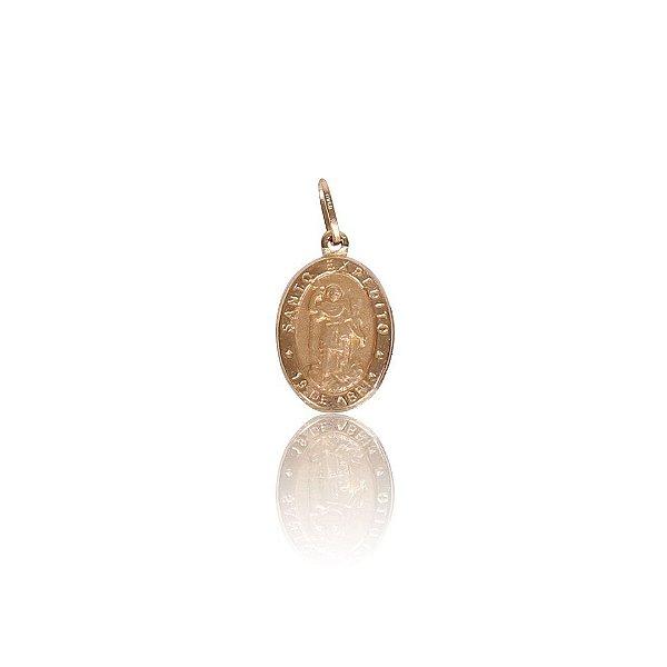 Pingente Medalha Santo Expedito Detalhe Fosco - Ouro 18K