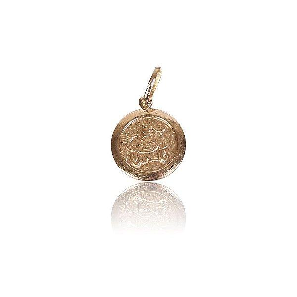 Pingente Medalha São Francisco de Assis Detalhe Fosco - Ouro 18K