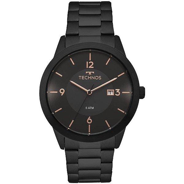 Relógio Technos Preto Masculino Classic Steel - 2115MOH/4P