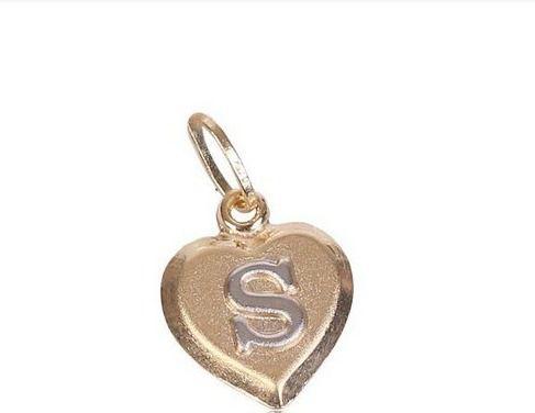 Pingente Coração com Letra em Ouro Branco  Ouro 18K