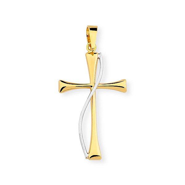 Pingente de Cruz Folheado a Ouro 18K com Detalhe em Prata