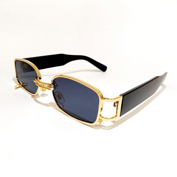 Óculos de Sol Coleção Carol Schutz Inverno 2021 Retangular Dourado Feminino