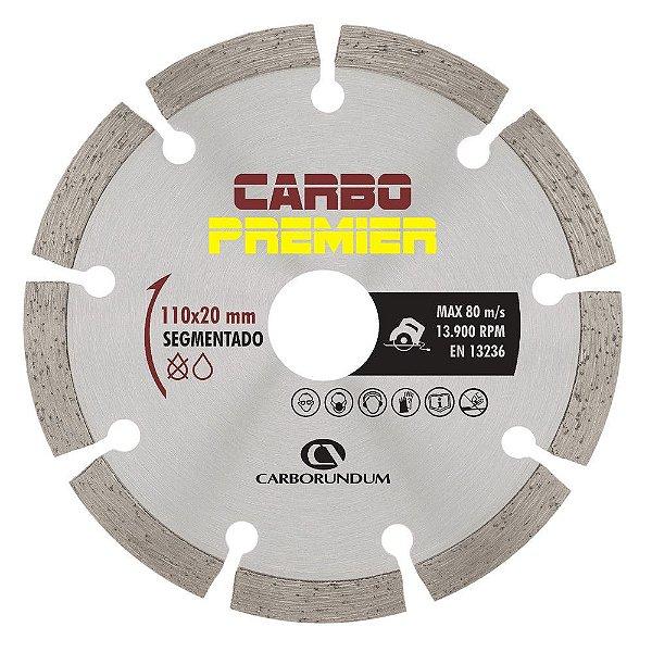 Disco de Corte Carbo Premier Diamantado Segmentado 110 x 7,5 x 20 mm