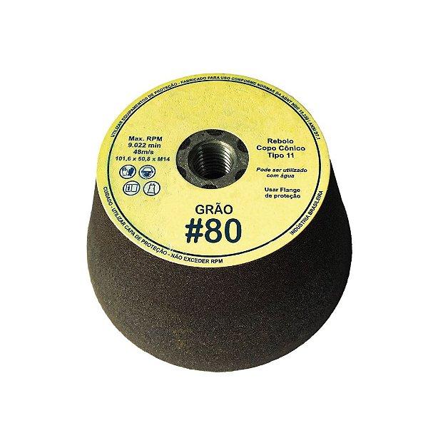 Rebolo Copo Cônico Marmorista 101,6 X 50,8 X 15,87 #80 c/Rosca M14