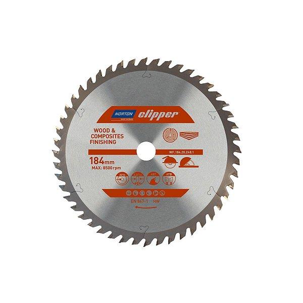 Caixa com 5 Disco de Serra para cortar Madeira e Compósitos Norton Clipper de 184mm com 48 dentes