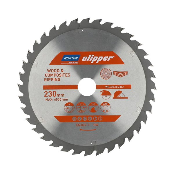 Caixa com 5 Disco de Serra para cortar Madeira e Compósitos Norton Clipper de 230mm com 36 dentes