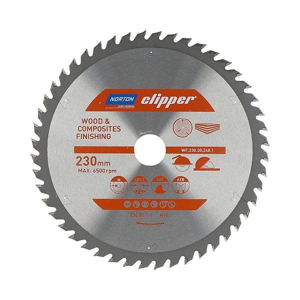 Caixa com 5 Disco de Serra para cortar Madeira e Compósitos Norton Clipper de 230mm com 48 dentes