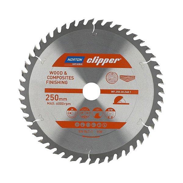 Caixa com 5 Disco de Serra para cortar Madeira e Compósitos Norton Clipper de 250mm com 48 dentes