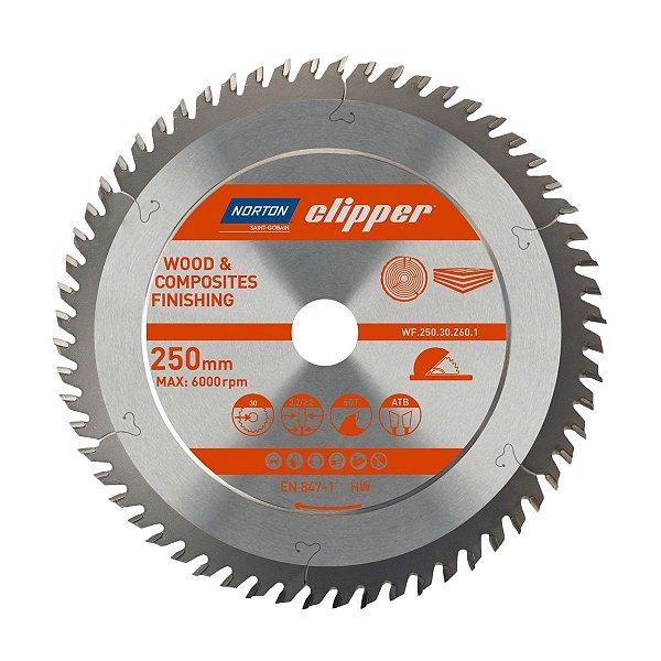Caixa com 5 Disco de Serra para cortar Madeira e Compósitos Norton Clipper de 250mm com 60 dentes