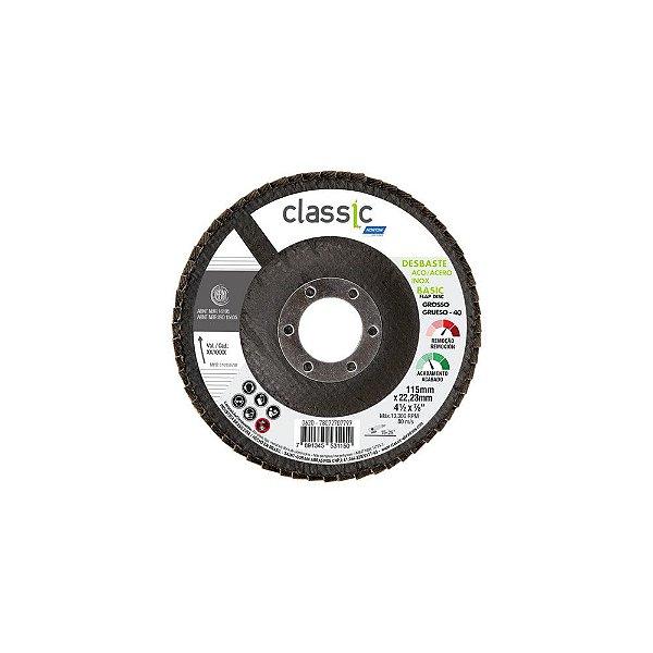 Disco Flap Classic Basic Fibra Grão 40 - 115 x 22,23 mm