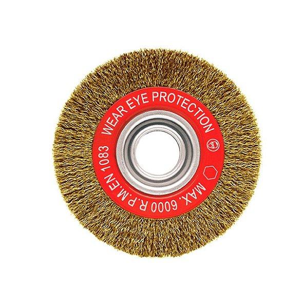 Escova Rotativa Ondulada - Latão 150 x 18 x 22 mm