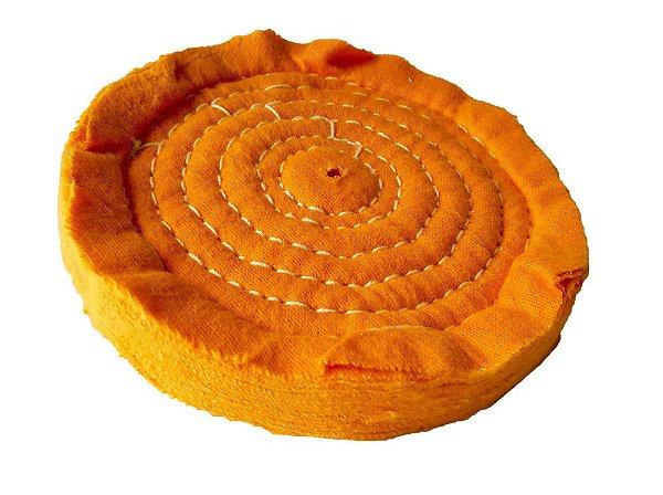 Disco de Polimento Costurado Flanela Laranja - 150 mm