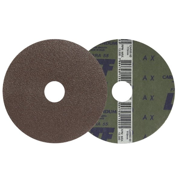 Disco de Lixa Fibra CAR55 Grão 60 115 x 22 mm