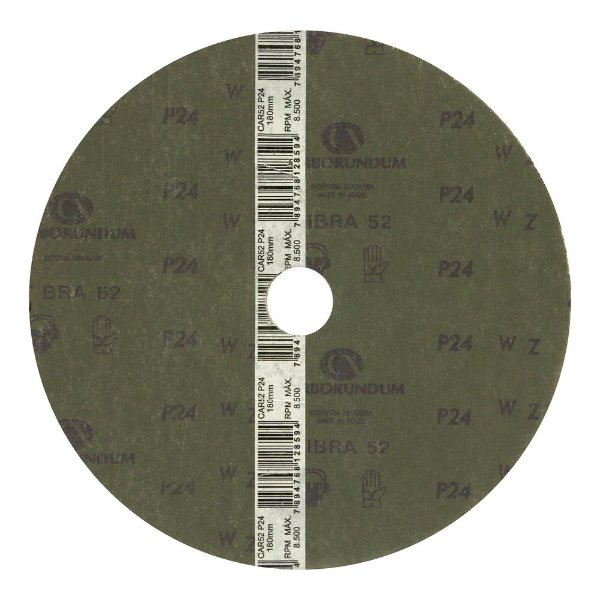 Disco de Lixa Fibra CAR52/CAR53 Grão 24 180 x 22 mm