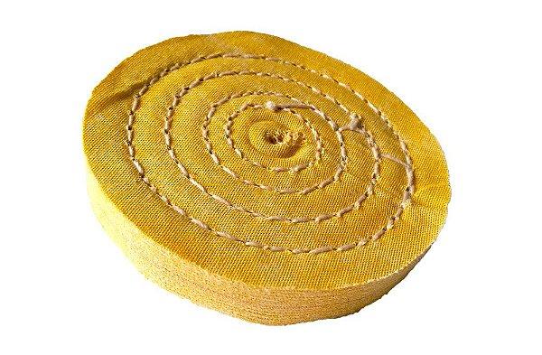 Disco de Polimento Costurado Algodão Amarelo - 100 mm