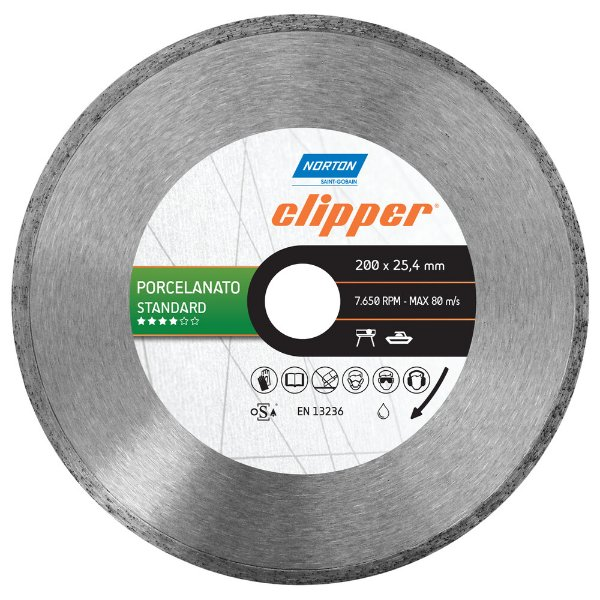 Disco de Corte Clipper Porcelanato Diamantado Standard 200 x 25,4 mm