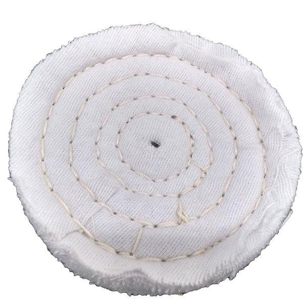 Disco de Polimento Costurado Flanela Branca - 150 mm