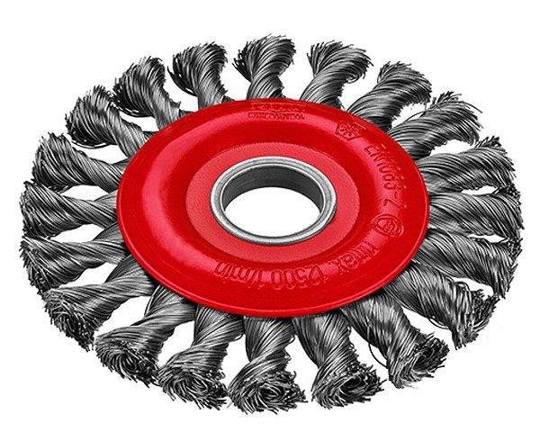 Escova Rotativa Trançada - Aço 115 x 12 x 22 mm