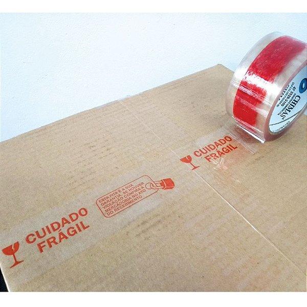 Fita Transparente Acrílica Personalizada PP47 (Micras) - Cuidado Frágil com Cadeado de Anti Violação - 48x50 m
