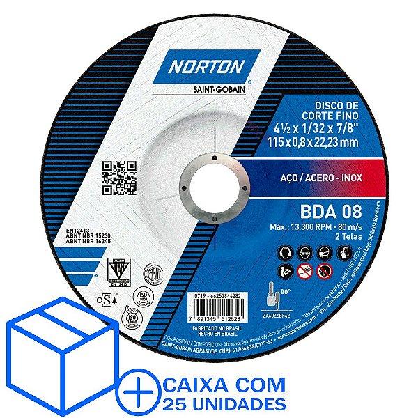 Caixa com 25 Disco de Corte BDA08 Ultra Fino Azul com Depressão 115 x 0,8x22,23 mm