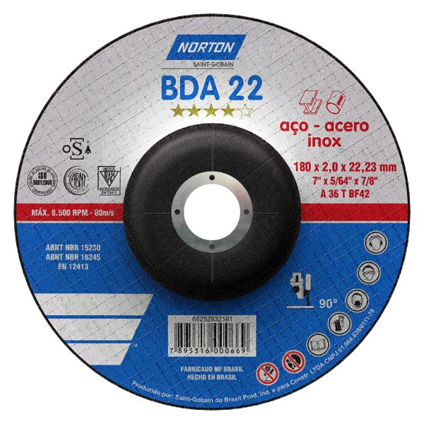 Caixa com 25 Disco de Corte BDA22 Azul com Depressão 180 x 2 x 22,23 mm