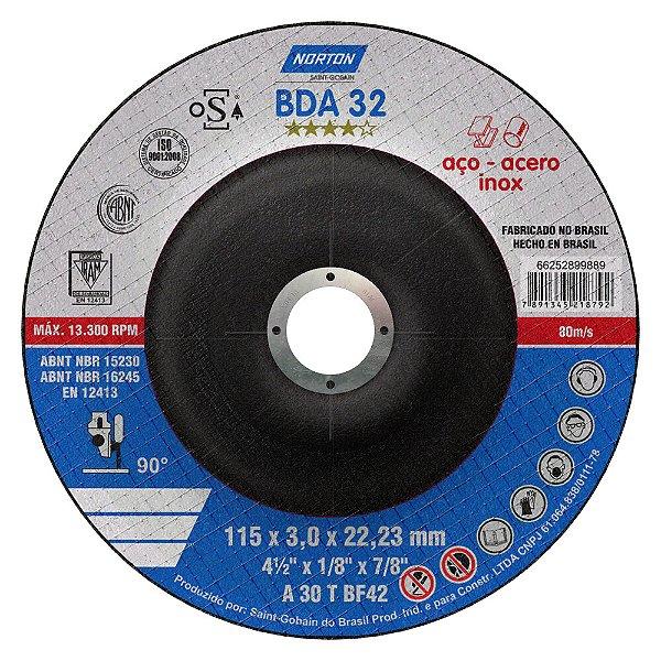 Disco de Corte BDA32 Azul com Depressão 115 x 3 x 22,23 mm Caixa com 25