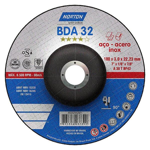 Disco de Corte BDA32 Azul com Depressão 180 x 3 x 22,23 mm Caixa com 25