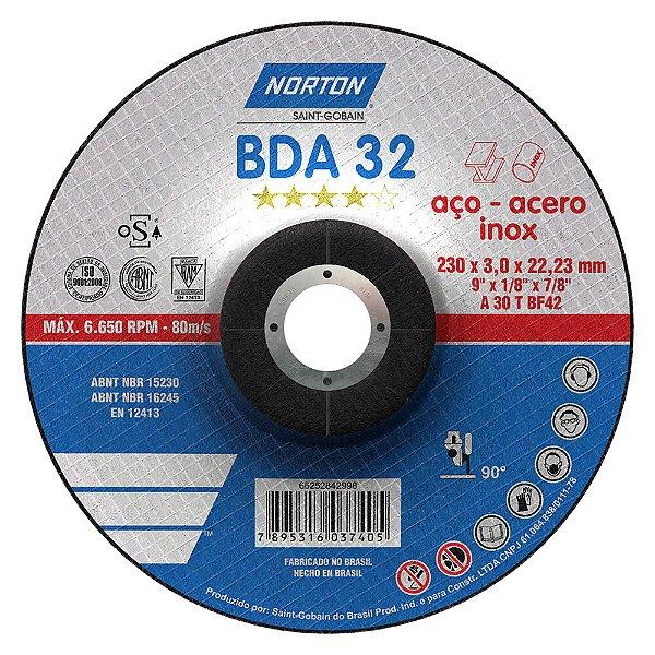Caixa com 25 Disco de Corte BDA32 Azul com Depressão 230 x 3 x 22,23 mm