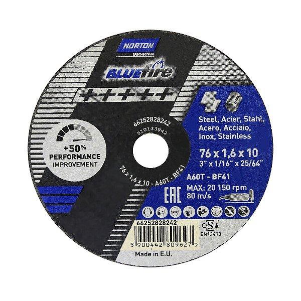 Disco de Corte BlueFire 76 x 1,6 x 10 mm Caixa com 50