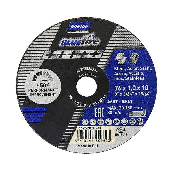 Caixa com 50 Disco de Corte BlueFire 76 x 1 x 10 mm
