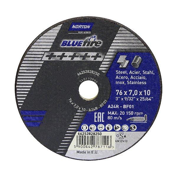 Caixa com 10 Disco de Corte BlueFire 76 x 7 x 10 mm
