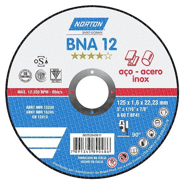Caixa com 2 Disco de Corte BNA12 Azul - 125 x 1,6 x 22,23 mm