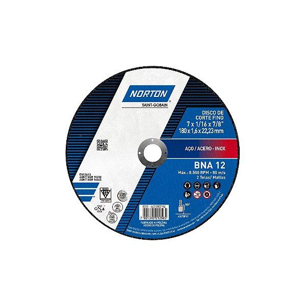 Caixa com 25 Disco de Corte BNA12 Azul - 180 x 1,6 x 22,23 mm