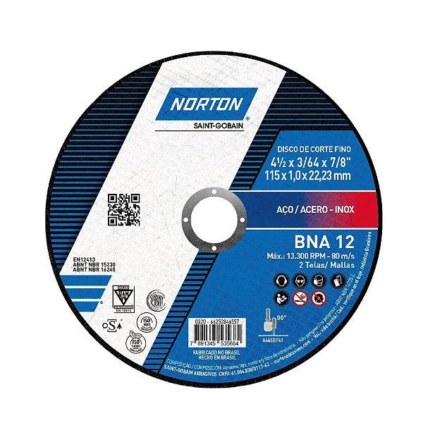 Caixa com 25 Disco de Corte BNA12 Azul 115 x 1 x 22,23 mm