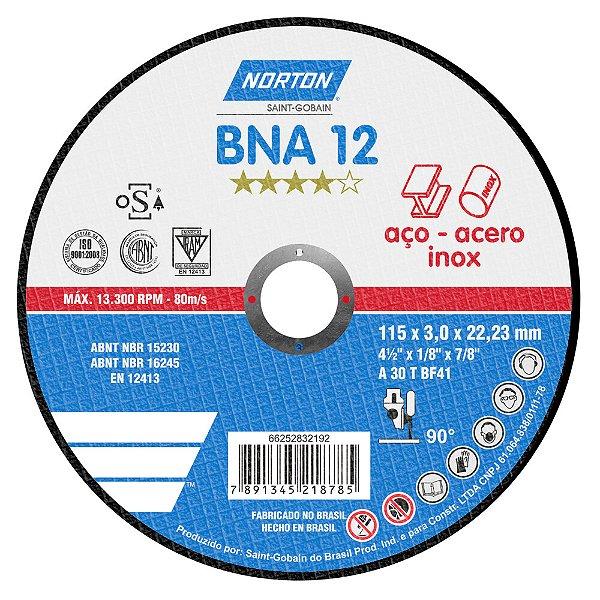Caixa com 25 Disco de Corte BNA32 Azul 115 x 3 x 22,23 mm