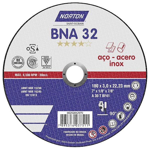 Disco de Corte BNA32 Azul 180 x 3 x 22,23 mm Caixa com 25