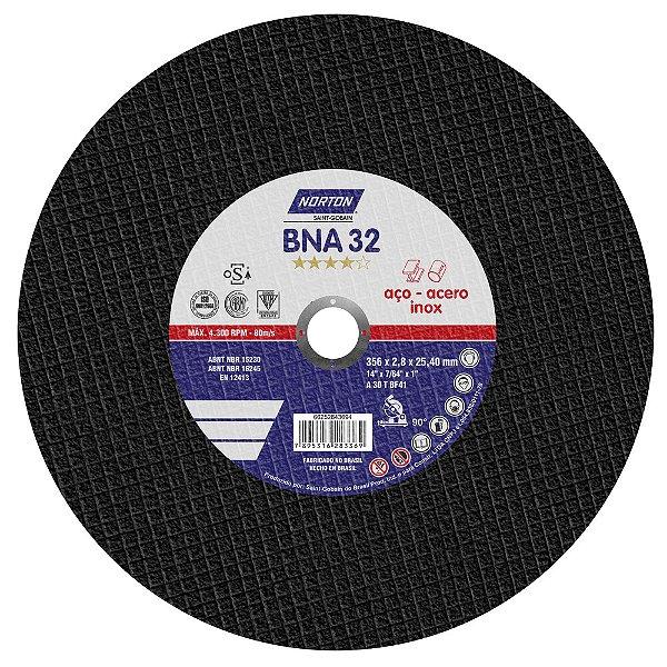 Caixa com 10 Disco de Corte BNA32 Azul 356 x 2,8 x 25,4 mm
