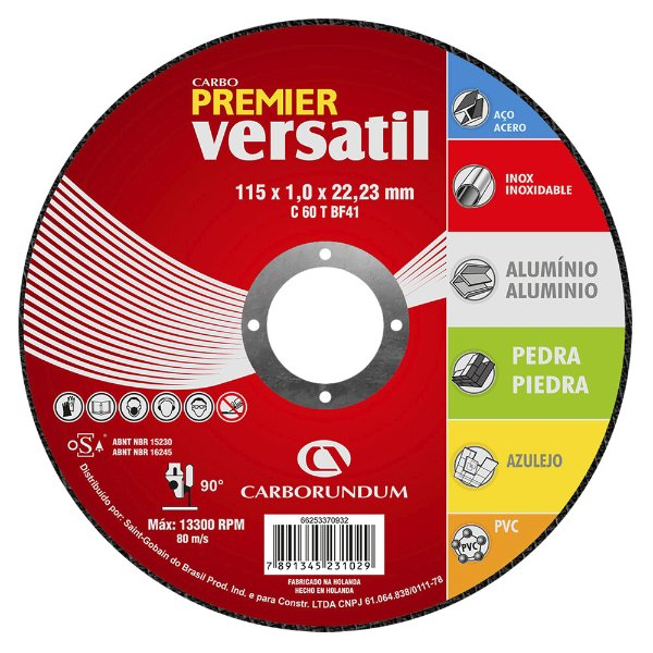 Caixa com 25 Disco de Corte Carbo Premier Versátil 115 x 1 x 22,23 mm