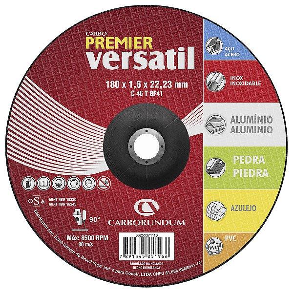 Caixa com 25 Disco de Corte Carbo Premier Versátil 180 x 1,6 x 22,23 mm