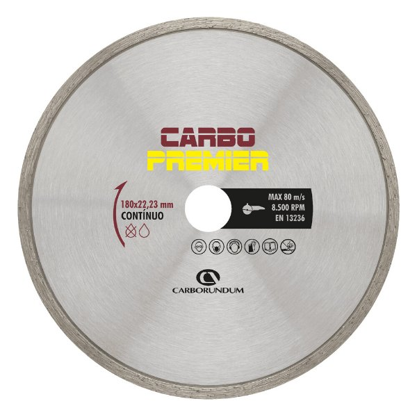 Caixa com 5 Disco de Corte Carbo Primier Diamantado Contínuo 180 x 22,23 mm